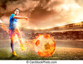 Asian football player man in blue jersey with kicking the ball with fire effect