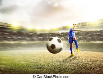 Asian football player man kicking the ball