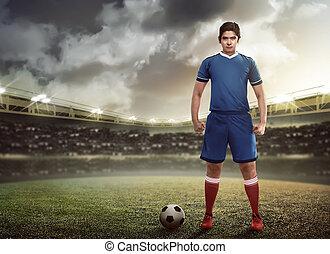 Asian football player standing