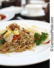 Asian Fried Noodle on a white plate