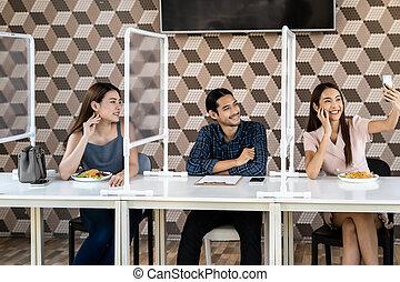Asian friend selfie in New Normal Restaurant