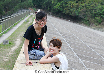 Asian friends in countryside