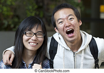 Asian friends with big smile