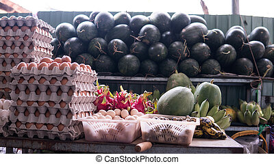 Asian fruit market. Tropical fruits