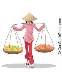 asian fruit seller - an illustration of a female asian fruit...