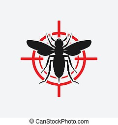 Asian giant hornet icon red target. Vector illustration