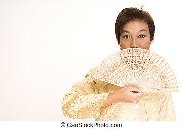 Asian Girl and Fan
