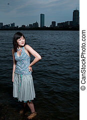 Asian girl at river