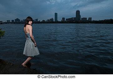 Asian girl at river