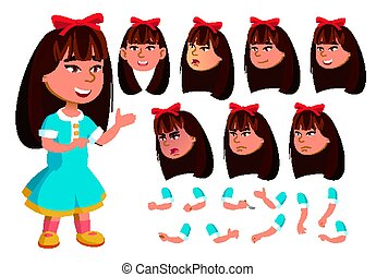 Asian Girl, Child, Kid Vector. Face Emotions, Various Gestures. Animation Creation Set. Isolated Flat Cartoon Character Illustration