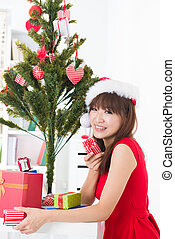 asian girl christmas celebration at her home