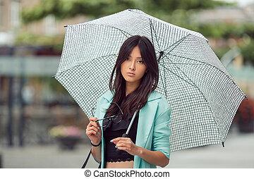Asian girl city portrait.