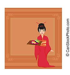 Asian girl enjoy sushi