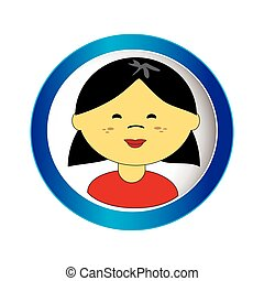 asian girl face with short hair in circular frame