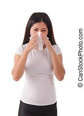 asian girl flue on white background