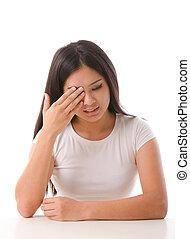 asian girl having eye pain