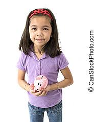 Asian Girl Holding Piggy Bank