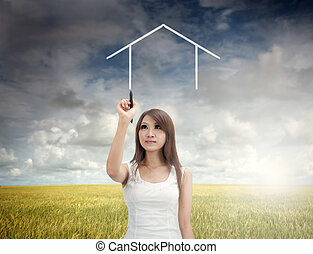 asian girl home concept - asian girl drawing a dream home...