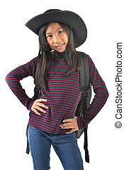 Asian girl in a cowboy hat isolated on white background