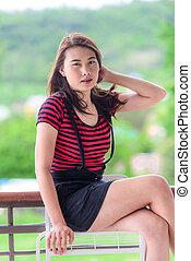 Asian girl in coffee shop