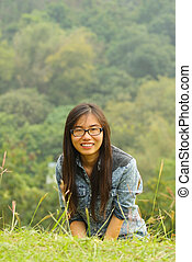 Asian girl in countryside