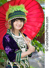 asian girl in hill tribe costume - cute asian young girl in...