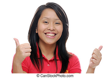 Asian girl in red