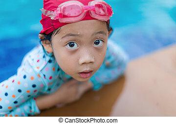 Asian Girl in Swimming Pool