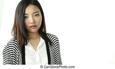 asian girl isolated on white worried with help sign