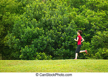 Asian girl jogging