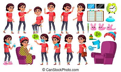 Asian Girl Kid Poses Set Vector. School Child. Sick, Cough. Runy Nose. Health. For Presentation, Print, Invitation Design. Isolated Cartoon Illustration