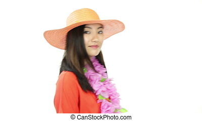 asian girl orange sundress isolated on white smiling - asian...