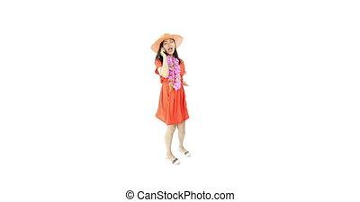 asian girl orange sundress isolated on white talking phone -...