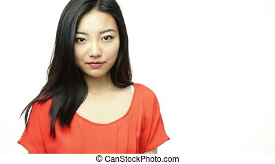 asian girl orange sundress isolated on white with hire me...