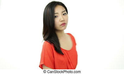 asian girl orange sundress isolated on white angry