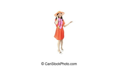 asian girl orange sundress isolated on white talking phone