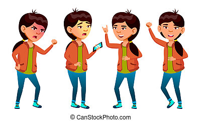 Asian Girl Poses Set Vector. High School Child. Life, Emotional, Pose. For Web, Brochure, Poster Design. Isolated Cartoon Illustration