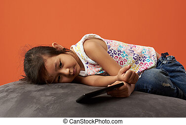 Asian girl sad with phone