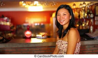 asian girl suprise at bar