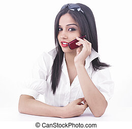 girl talking on the cell phone - asian girl talking on the...