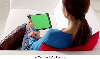 asian girl using touch pad device - portrait of beautiful ...