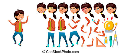Asian Girl Vector. High School Child. Animation Creation Set. Face Emotions, Gestures. study. Knowledge, Learn, Lesson. For Web, Poster, Booklet Design. Animated. Isolated Cartoon Illustration
