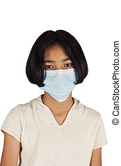 asian girl wearing a mask to protect yourself
