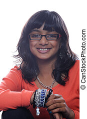 Asian girl wearing glasses