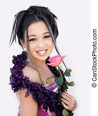Asian girl with a pink rose