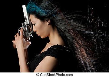 Asian girl with gun - Dangerous Chinese woman with handgun...