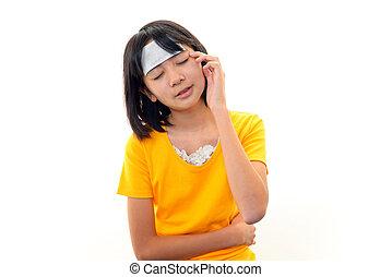 Asian girl with headache