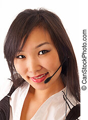 asian girl with headset