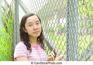 Asian girl with sad face