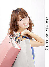 asian girl with shopping bag